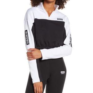 New Adidas crop half-zip white black jacket medium